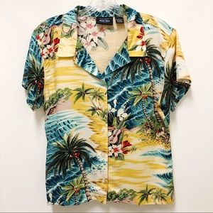 Anchor Blue | Hawaiian Tropical Print Shirt